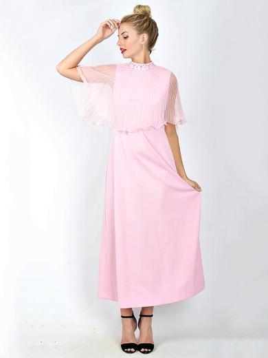 A-line Ankle-length Chiffon Satin Beading High Neck Bridesmaid Dresses #PWD02018101