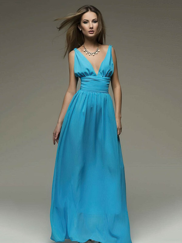 A-line Floor-length Chiffon Ruffles V-neck Bridesmaid Dresses #PWD02018110