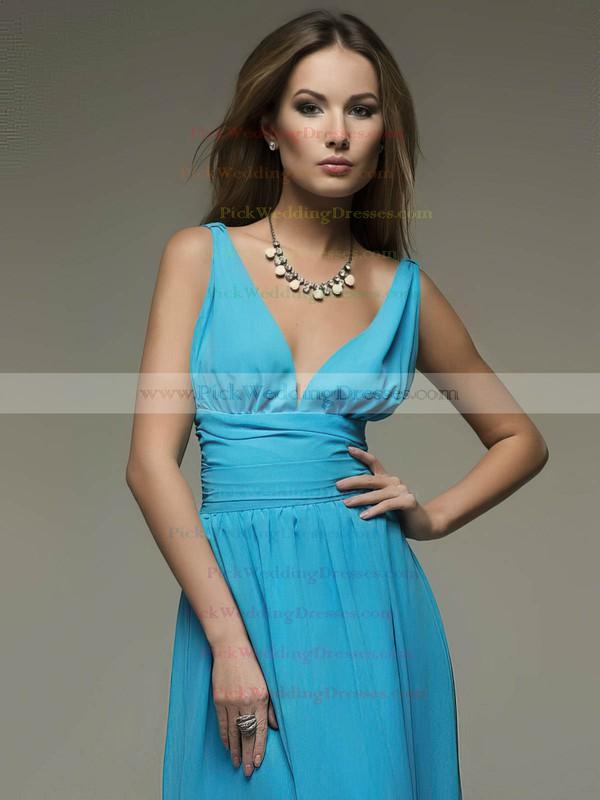 A-line Floor-length Chiffon Ruffles V-neck Bridesmaid Dresses #PWD02018110