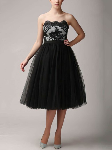 A-line Knee-length Tulle Appliques Lace Strapless Bridesmaid Dresses #PWD02018121