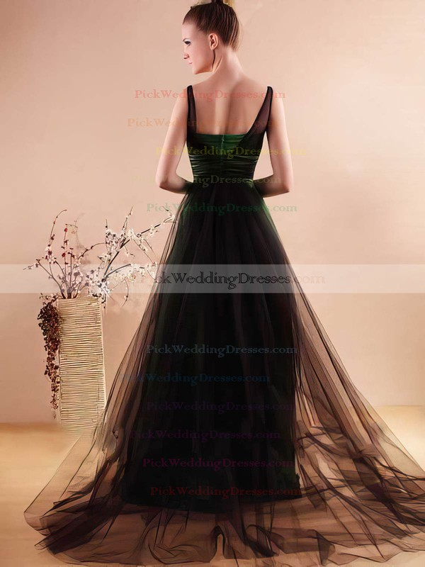 A-line Watteau Train Tulle Elastic Woven Satin Beading Scoop Neck Bridesmaid Dresses #PWD02018136