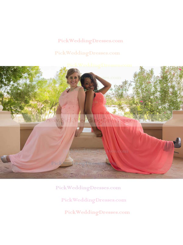 A-line Floor-length Chiffon Beading Scoop Neck Bridesmaid Dresses #PWD02018147