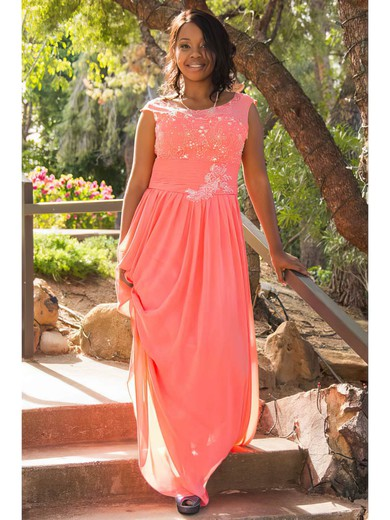 A-line Floor-length Chiffon Beading Scoop Neck Bridesmaid Dresses #PWD02018147