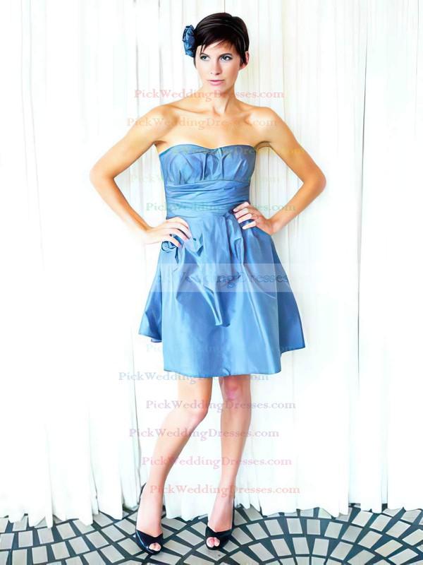 A-line Short/Mini Taffeta Ruffles Strapless Bridesmaid Dresses #PWD02018162
