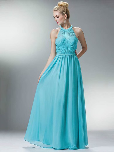 A-line Floor-length Chiffon Sashes / Ribbons Scoop Neck Bridesmaid Dresses #PWD02018167