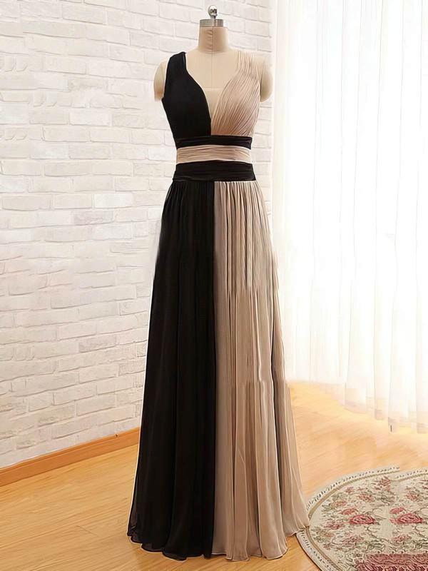 A-line Floor-length Chiffon Satin Tulle Ruffles V-neck Bridesmaid Dresses #PWD02018168
