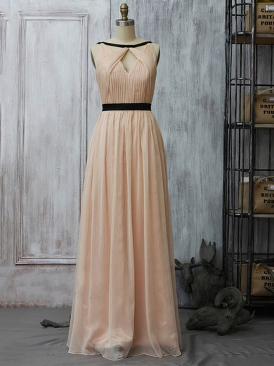 A-line Floor-length Chiffon Sashes / Ribbons Scoop Neck Bridesmaid Dresses #PWD02017961