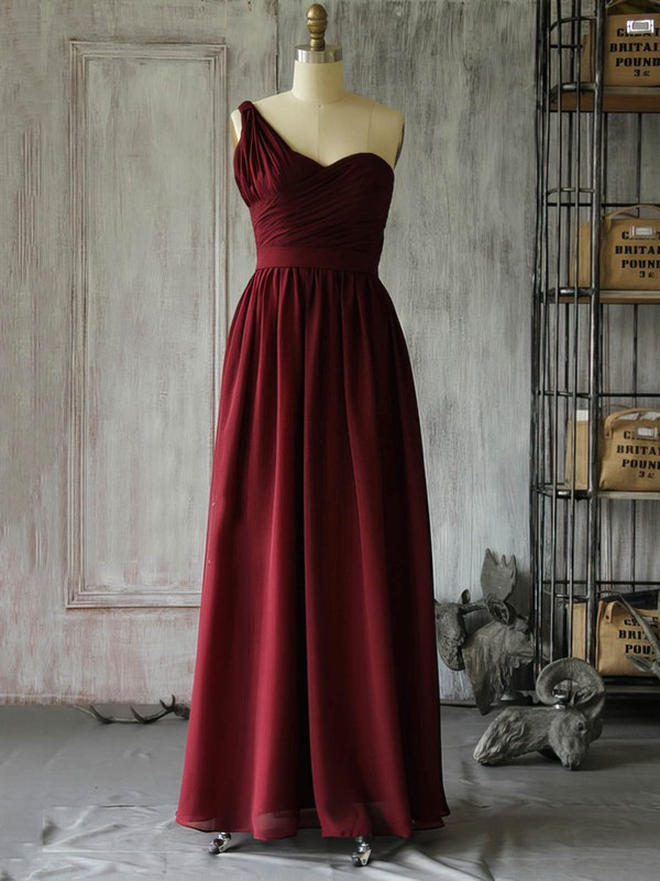 A-line Floor-length Chiffon Ruffles One Shoulder Bridesmaid Dresses #PWD02017962