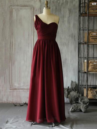 A-line Floor-length Chiffon Ruffles One Shoulder Bridesmaid Dresses #PWD02017962