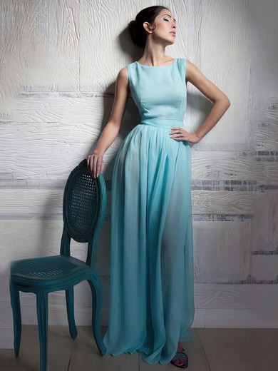 A-line Floor-length Chiffon Elastic Woven Satin Sashes / Ribbons Scoop Neck Bridesmaid Dresses #PWD02018015