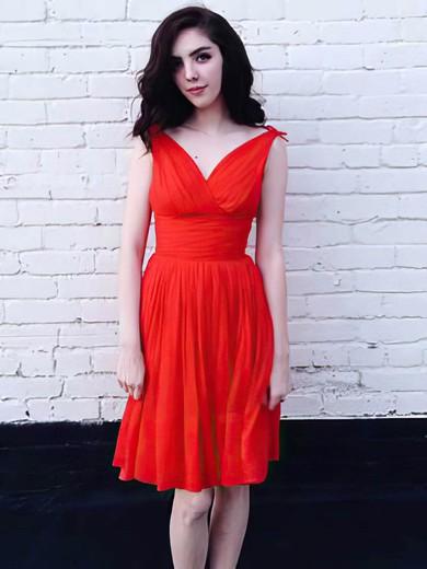 A-line Short/Mini Chiffon Bow V-neck Bridesmaid Dresses #PWD02018025