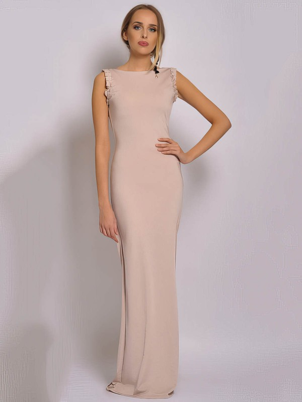 Sheath/Column Floor-length Chiffon Ruched Square Neckline Bridesmaid Dresses #PWD02018040
