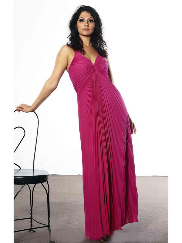 Empire Ankle-length Chiffon Split Front V-neck Bridesmaid Dresses #PWD02018041