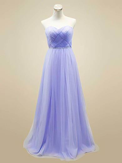 A-line Floor-length Tulle Beading Sweetheart Bridesmaid Dresses #PWD02018044