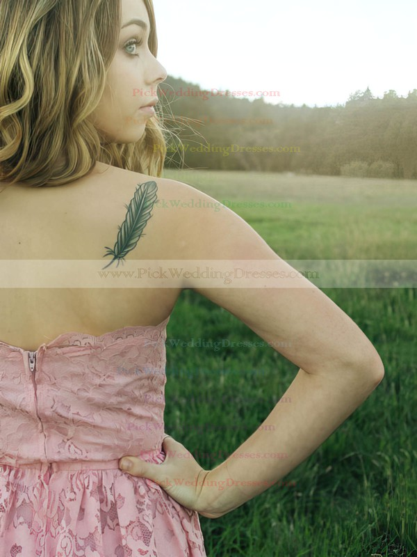 A-line Tea-length Lace Ruffles Strapless Bridesmaid Dresses #PWD02017787